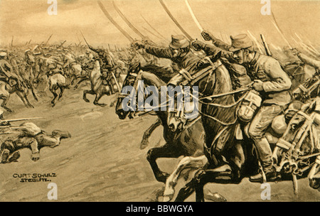 events, First World War/WWI, Eastern Front, Poland, Battle of Krasnik, 23.8.1914 - 25.8.1914, Hungarian hussars - Stock Photo