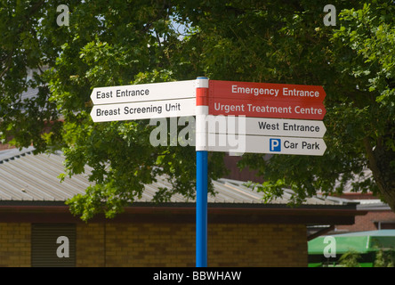 Information and Directions Sign East Surrey NHS Hospital Redhill Surrey - Stock Photo
