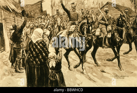 events, First World War/WWI, Eastern Front, Poland, German lancers at Czestochowa, August 1914, postcard, drawing - Stock Photo