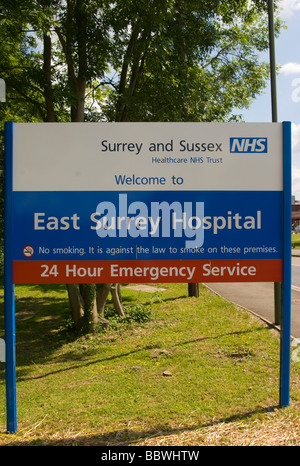 East Surrey NHS Hospital Welcome Sign Redhill England - Stock Photo