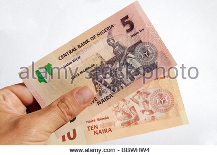Nigerian five and ten Naira note. - Stock Photo
