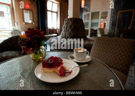 detail of interior decor and furnishings of trendy bohemian cafe