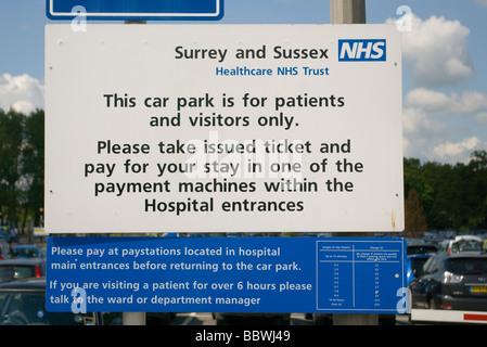 Public Car Park Sign East Surrey NHS Hospital Redhill Surrey - Stock Photo