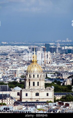 aerial rooftop view of paris france with gold dome des invalides in the foreground - Stock Photo