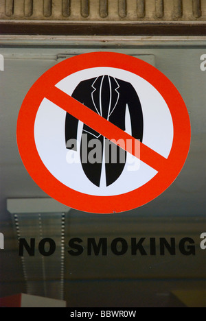 No smoking jackets sign in Tabor Czech Republic Europe - Stock Photo