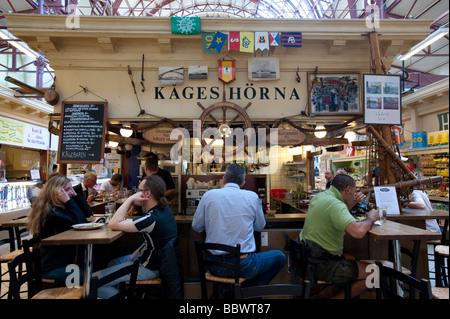 Restaurant and bar in Saluhallen indoor market in Kungstorget in central Gothenburg Sweden - Stock Photo
