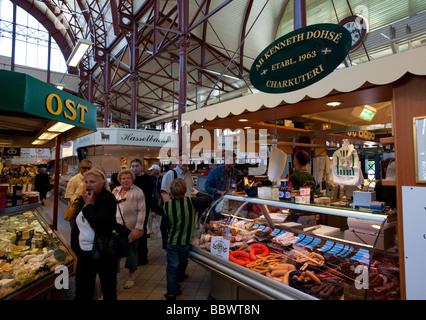 saluhallen indoor market with many food stalls in Kungstorget in central Gothenburg Sweden - Stock Photo