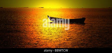 sunset light falling at alagoas beach sea brazil - Stock Photo