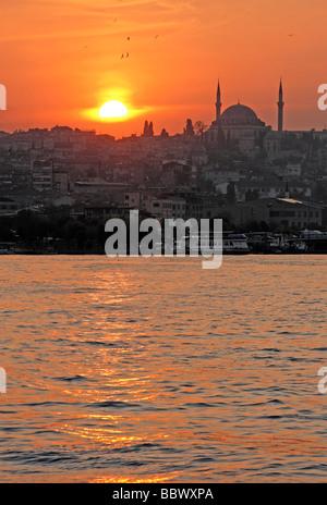 Sunset over the Golden Horn, Istanbul, Turkey - Stock Photo