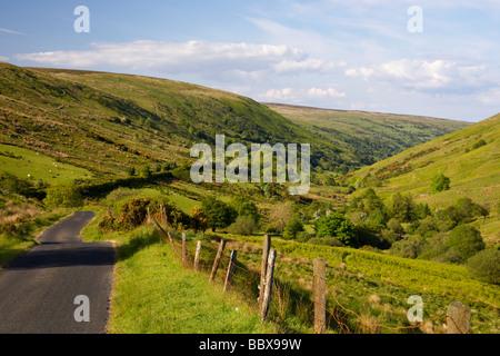 small twisty narrow country mountain road through glendun scenic route glendun county antrim northern ireland uk - Stock Photo
