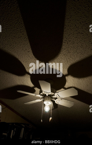 ceiling fan and light with shadows - Stock Photo