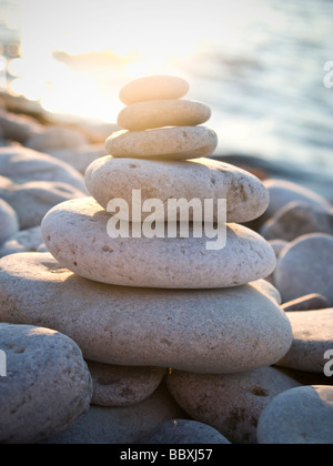 White stones piled up Gotland Sweden. - Stock Photo