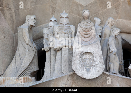 La Sagrada Familia Passion facade detail Barcelona Spain - Stock Photo