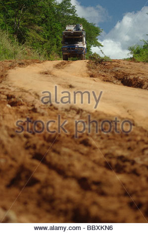 Land Rover on dirt track North Mozambique Africa - Stock Photo