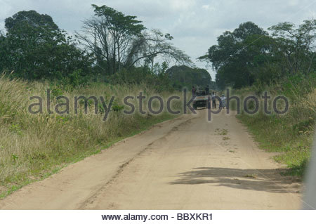 African ROADBLOCK police searching for escaped convict Mozambique Africa - Stock Photo