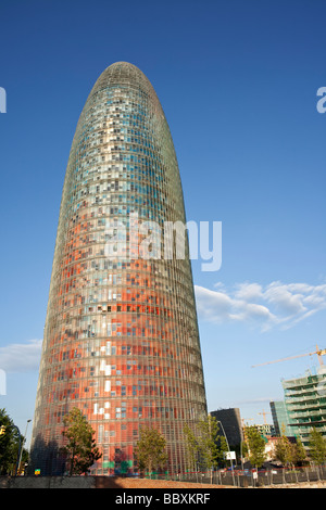 The Torre Agbar, modern office building, Barcelona Spain - Stock Photo