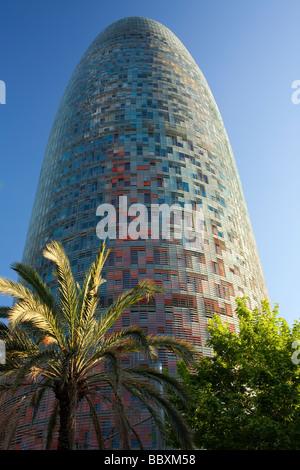 The Torre Agbar modern office building Barcelona Spain - Stock Photo