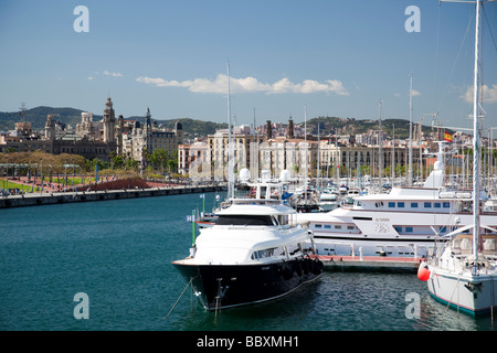 Boats in the harbour Barcelona Spain - Stock Photo