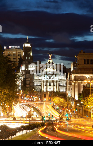 View over Plaza de Cibeles towards the Gran Via Madid Spain - Stock Photo