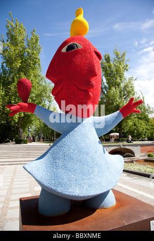 Typical spanish sculptures in Retiro Park, Madrid, Spain - Stock Photo