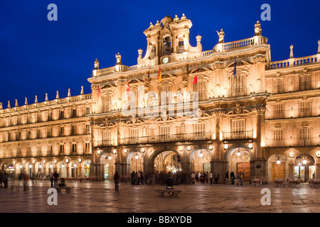 Plaza Mayor at dusk, Salamanca, Spain