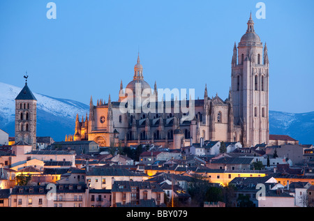 Segovia Cathedral Illuminated, Segovia, Spain - Stock Photo