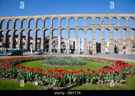 Aqueduct of Segovia, Roman aqueduct, Segovia, Spain - Stock Photo