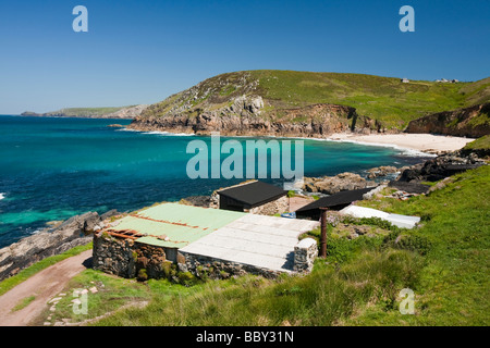 Old fishermans huts near Pendeen watch on the North Cornwall coast near St Just UK - Stock Photo