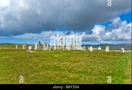 Callanish Standing Stones on the Isle of Lewis in the Outer Hebrides of Scotland - Stock Photo