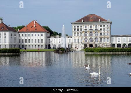 Schloss Nymphenburg castle, Munich, Bavaria, Germany, Europe - Stock Photo