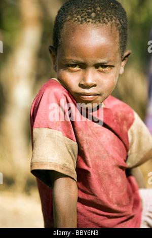 Maasai Child - Maji Moto Maasai Village - near Narok, Kenya - Stock Photo