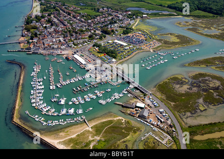 Aerial Harbour Old Gaffers Yar Yarmouth Isle of Wight England UK - Stock Photo