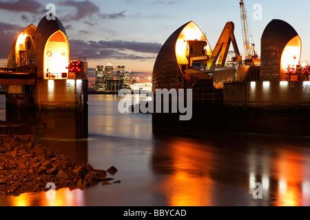Thames Flood Barrier London UK - Stock Photo