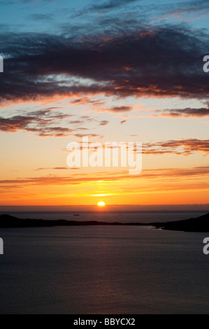 Sunset over Taransay Island, Isle of Harris, Outer Hebrides, Scotland - Stock Photo