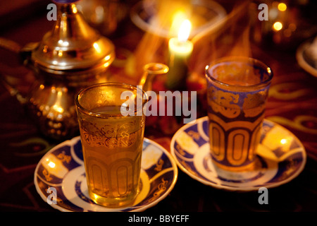 Té moruno en una Tetería arabe de Granada Andalucía España Moruno tea in a Arabic tea room Granada Andalusia Spain - Stock Photo