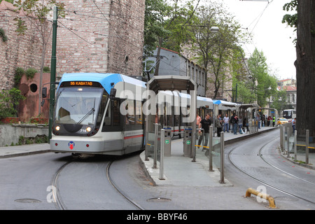 Istanbul Turkey public transport tram station at Gulhane beside the Topkapi Palace en route to Kabatas - Stock Photo