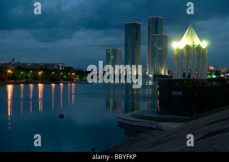 Scenic view of downtown and Ishim river. Astana capital of Kazakhstan - Stock Photo