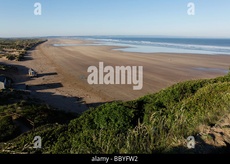 a landscape of saunton sands in north devon looking over the beach in early morning light - Stock Photo
