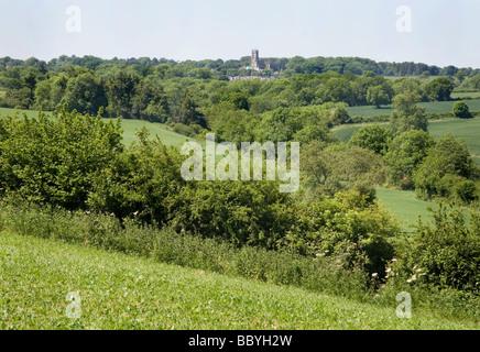 English countryside near Downside Abbey: Somerset, UK - Stock Photo