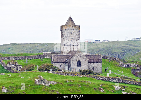 St Clements Church near Roghadal in the south-eastern corner of the Isle of Harris in the Outer Hebrides of Scotland - Stock Photo