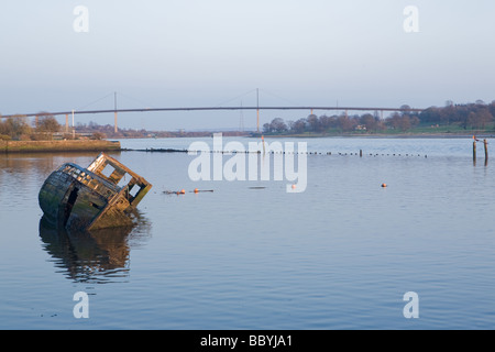 Shipwrecks in Bowling Harbour, West Dunbartonshire, Scotland - Stock Photo