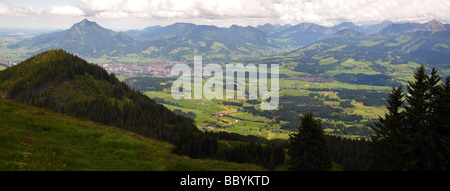 panoramic view from Hörnergruppe to the Allgau Alps with Grünten mountain - Stock Photo