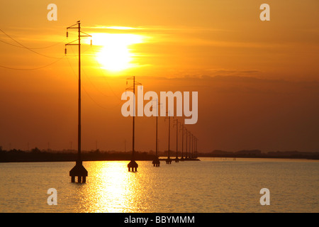 Sunset and silhouetted power cables pylons, supplying albarella island, italy - Stock Photo