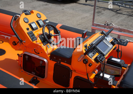 controls and pilot seat of an RNLI rib B class Atlantic 85 lifeboat jessie hillyard bangor county down uk - Stock Photo