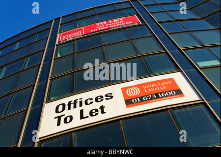 Estate agents To Let signs on business premises in central Dublin Republic of Ireland - Stock Photo