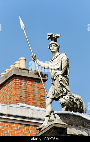 Statue with lion Dublin Castle Republic of Ireland - Stock Photo