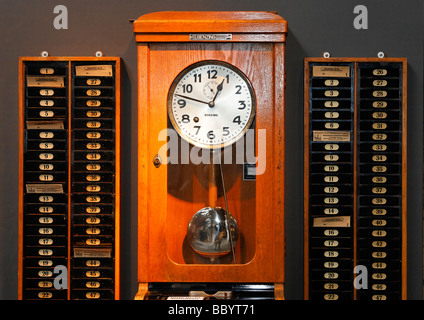 Old time stamp clock, Hendrichs swage forge, LVR Industrial Museum, Solingen, North Rhine-Westphalia, Germany, Europe - Stock Photo