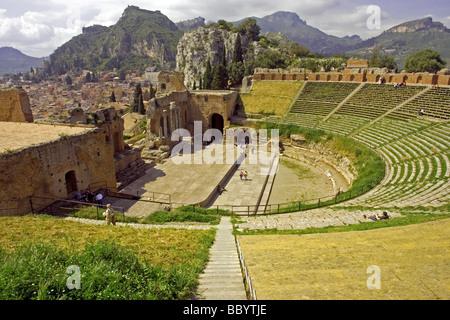 Greek theatre, Teatro Greco, 3rd century B.C. amphitheatre, Taormina, Sicily, Italy - Stock Photo