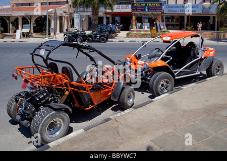 Various beach buggies at a car rental, Coral Bay, Southern, West Coast, Cyprus, Southern Europe, Europe - Stock Photo