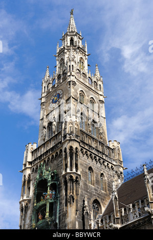 The 85 meter high tower of the new city hall on the Marienplatz square in Munich, Bavaria, Europe - Stock Photo